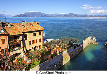 View on Sirmione and Lake Garda. - Aerial view on historic...