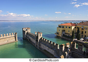 View on Lake Garda and ancient fortification - Aerial view...