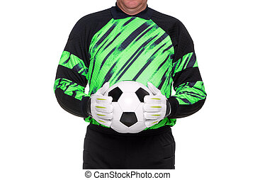 Football goalkeeper holding ball isolated - Photo of a...