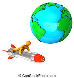 Aerospace - Orange cartoon on the missile, isolated on...