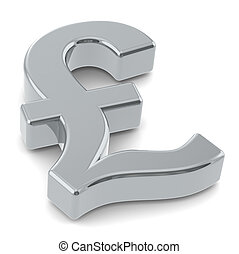 GBP - 3D British Pound symbol Silver
