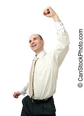 Excited handsome business man with arm raised Isolated on...