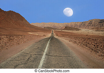 Narrow road through the desert in Israel. - View on narrow...
