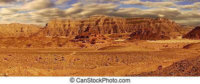 Panoramic view on Arava desert. - Panoramic view on...