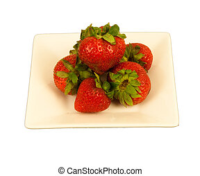 Strawberries on a square dish - Red Strawberries on a cream...