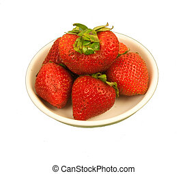 Saucer of Strawberries - Six ripe strawberries on a cream...