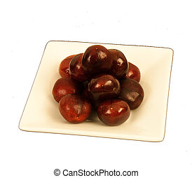 Cherries on a square plate - Ripe luscious cherries on a...