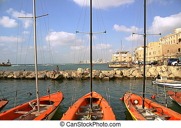 Harbor of Jaffa. - Boats on old harbor of Yafo in Israel.