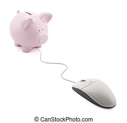 Online banking Piggy bank with computer mouse