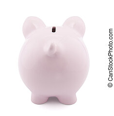 Back view of pink piggy bank