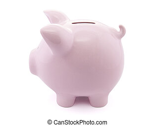 Side view of pink piggy bank