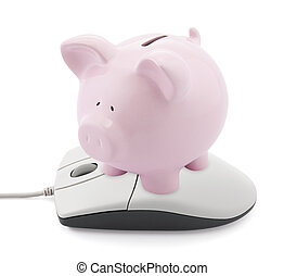 Online banking Piggy bank and computer mouse