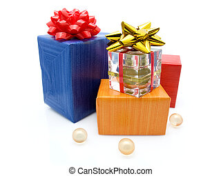 gift boxes with perfume isolated on white background