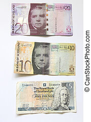 Scottish money - Different scottish banknotes