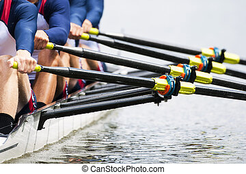 Close, up, men's, rowing, team
