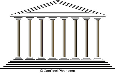 Greek temple on white background - vector illustration for...
