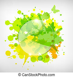 Advertising Glass Board With Color Blots, Vector...