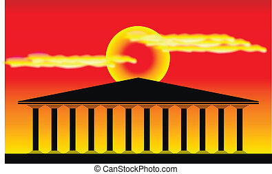 Greek temple at sunset background - vector illustration for...