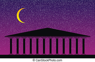 Greek temple at night-  vector illustration for design