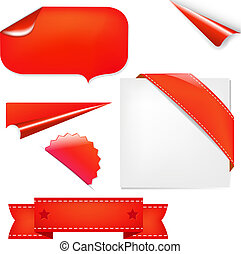 Red Set, Isolated On White Background, Vector Illustration