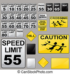 Road Signs - An image of a variety of road signs