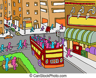 City Tour Bus - An image of a people riding on a tour bus in...