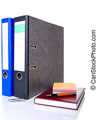 file folder, notebook, notes block and pen isolated