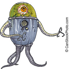 eyeball alien - a stylistic robot alien with a glass dome...