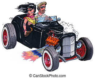 hot rod couple - two young people in an old hot rod coup...