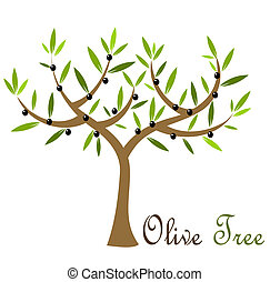 Olive tree with black olives. Vector illustration