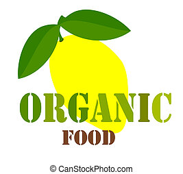 Organic food label - Organic food sign or label with lemon...