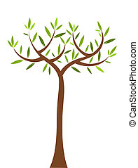 Spring tree - Symbolic tree with long trunk Vector...