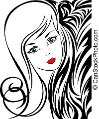 Black and white background with a girl - sketch of a...