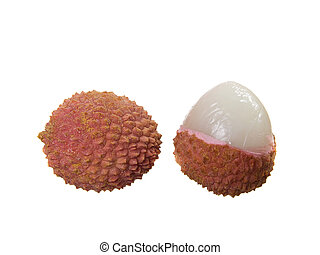 two Litchi on the white.