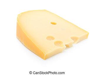 queijo, isolado, branca