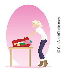 packing a suitcase - an illustration of a woman packing an...