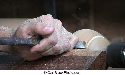 Man Working On A Lathe - Close Up
