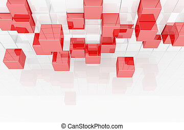 Abstract image of cubes - 3d abstract red and white cubes...