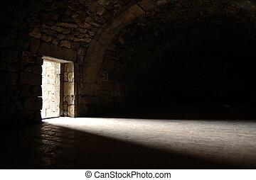 Light entering through door