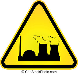 Danger of nuclear power - sign indicating danger of nuclear...