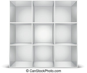 white bookshelf - detailed illustration of a glossy white...