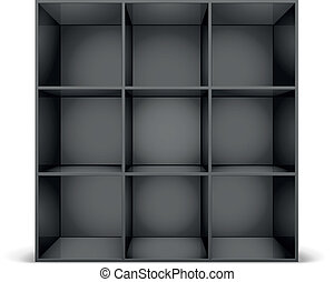 black bookshelf - detailed illustration of a glossy black...