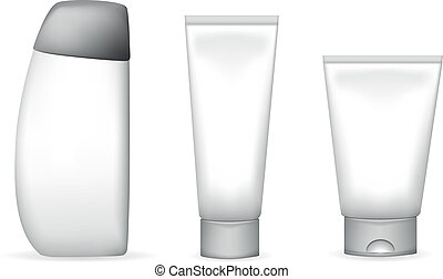 cosmetics - vector illustration of different lotion and...