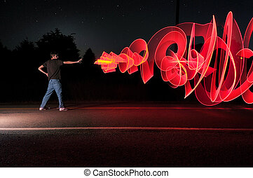 Laser Blast - A man in the road at the middle of the night...