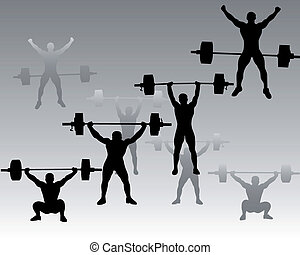 weightlifters on a gray background - silhouettes...