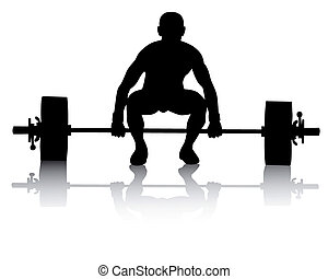 weight lifter on a white background - black silhouette of a...