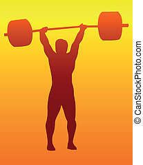 weight lifter - brown silhouette of a weight lifter on an...