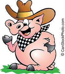 Pig Chef that Welcomes - Hand-drawn Vector illustration of...