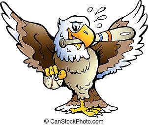 Eagle Playing Baseball