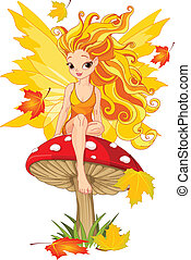 Autumn Fairy on the Mushroom - Autumn fairy elf sitting on...